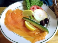 Photo of a plate of the Nova Scotia salmon appetizer at Barney Greengrass.