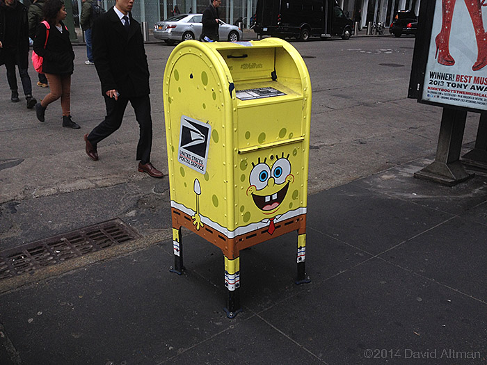 Photograph of a mailbox dressed to look like SpongBob MailPants.